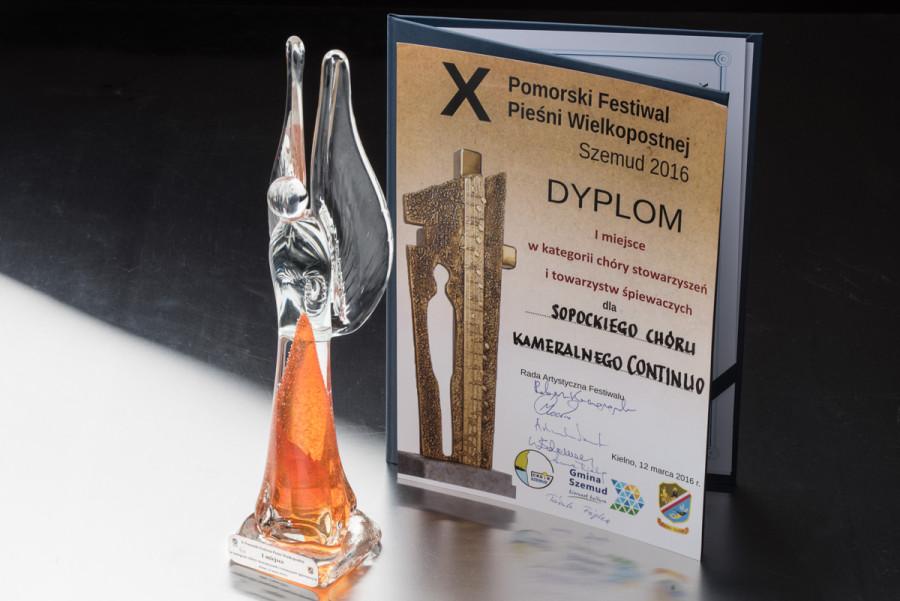 X Pomorski Festiwal Pieśni Wielkopostnej Szemud 2016. Sopocki Chór Kameralny Continuo zajął Pierwszą nagrodę w swojej kategorii.